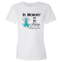 Ovarian Cancer In Memory of My Hero shirts, apparel and gifts featuring a teal ribbon to call attention to the importance of awareness for Ovarian Cancer brought to you by  cancer survivors and advocates at