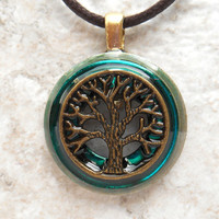 tree of life necklace: teal - mens jewelry - fathers day - boyfriend gift - celtic jewelry - mens necklace - nature necklace - unique gift