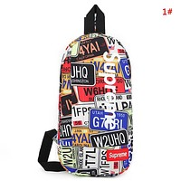 Supreme New fashion letter shoes pattern print couple shoulder bag 1#