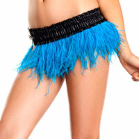 Turquoise Ostrich Feather Mini Skirt