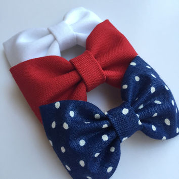 Fourth of July Seaside Sparrow hair bow set. 4th of July hair bow accessory hair bow Hair bows for teens Hair bows for girls bows accessory.