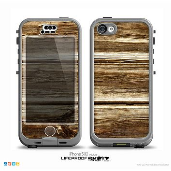 The Dark Highlighted Old Wood Skin for the iPhone 5c nüüd LifeProof Case