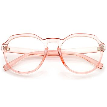 Oversize Retro Round Transparent Clear Lens Glasses C237