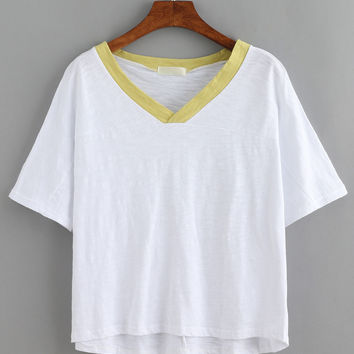 Contrast V-Neck White Slub T-shirt