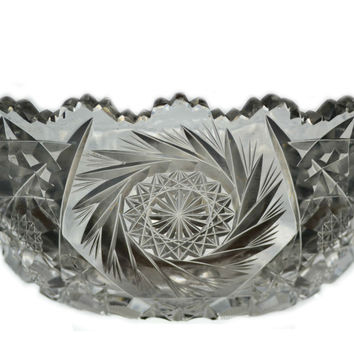 Cut Crystal Glass Serving Bowl, Antique English, 19th Century