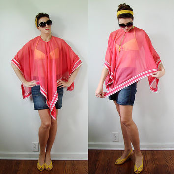 VINTAGE 1960s SHEER Coral Handkerchief Beach Cover Up Poncho Pink