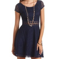 Crochet Cut-Out Lace Skater Dress by Charlotte Russe - Blue Depths