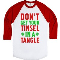 Don't Get Your Tinsel In A Tangle-Unisex White/Red T-Shirt
