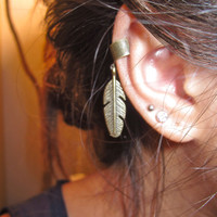 Bronze Feather Ear Cuff