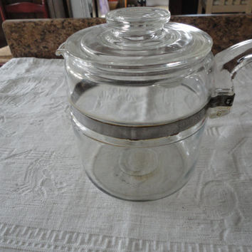 Pyrex Glass Percolator Stove Top Six Cup Coffee Pot Flameware 7756 B With Lid