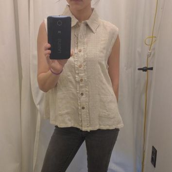 Neutral Sleeveless Button Up Collared Blouse