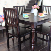 1/6 scale Miniature Farmhouse Table and 4 Chairs Dining Set for dolls (Blythe, Pullip, Obitsu, Barbie, BJD, Momoko).