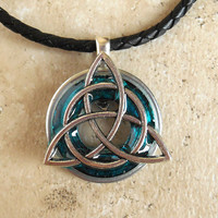 Triquetra Necklace: Blue - Mens Jewelry - Trinity Knot - Celtic Jewelry - Mens Necklace - Irish Jewelry - Boyfriend Gift - Fathers Day