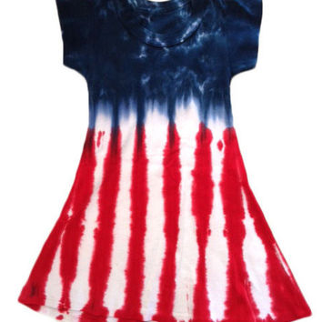 Women's 4th of July Cap Sleeve A-Line Dress