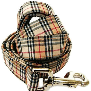 Plaid Dog Leash - The Black And Tan Leash - 6 Foot - Free U. S. Shipping