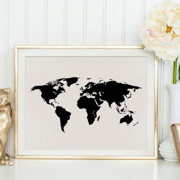 Wanderlust World Map Poster Travel Art Inspirational Quote Vintage Map Motivational Print World Map Poster Vintage Map Poster Black & White