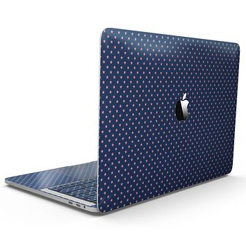 Micro Coral Stars Over Navy Pattern - MacBook Pro with Touch Bar Skin Kit