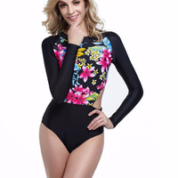 Sexy One Piece Long Sleeve Bathing Suit