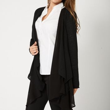 Waterfall Cardigan For Ladies In Black