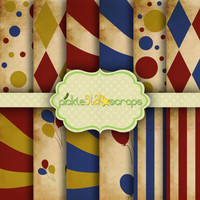 Circus Patterned Aged Shabby Printable Backgrounds - Carnival Vol4  - 12 Digital Printable Scrapbook Papers - 8.5x11inch - INSTANT DOWNLOAD