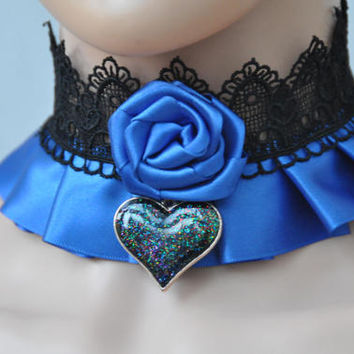Blue and black choker, cobalt black lace collar, gothic victorian satin necklace, rose heart kawaii choker, Blue goth elegant lolita collar