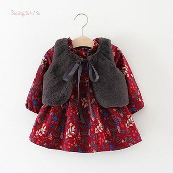 Winter Baby Infants Girls Kids Children Faux Fur Fleece Waistcoat Vest+Vintage Princess Long Sleeve Dress Vestido 2pcs Set S5942
