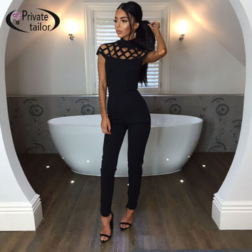 Rompers womens jumpsuit 2016 Sexy Long pants jumpsuits Autumn Warm Overalls Turtle neck Black Slim Bodycon Female Casual suits