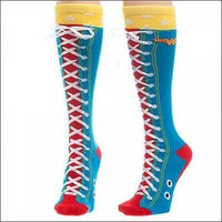 Wonder Woman DC Comics Costume Faux Lace Up Long Knee High Boot Socks OFFICIAL