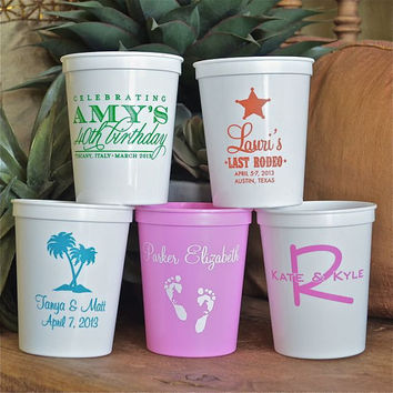 Custom Personalized Plastic Stadium Cups - Set of 100