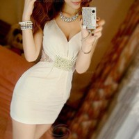 Pearl Embellished V Neckline Dress *free shipping*