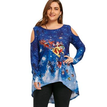 Wipalo Christmas Plus Size 5XL Santa Claus Print Dip Hem T-Shirt Cut Out Long Sleeve Cold Shoulder Tunic Tee Top Spring Fall Top
