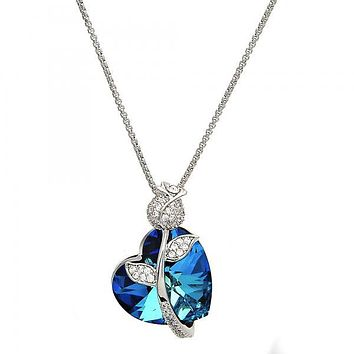 Rhodium Layered 04.239.0036.16 Fancy Necklace, Heart and Flower Design, with Bermuda Blue Swarovski Crystals and White Micro Pave, Polished Finish, Rhodium Tone