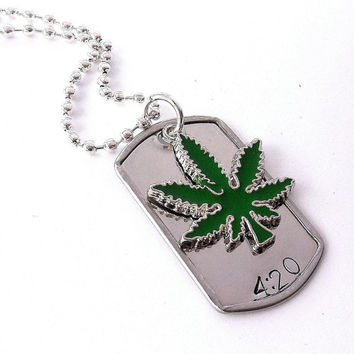 Stainless Steel Marijuana Leaf  Dog Tag Necklace /  Pot Leaf Hand Stamped Necklace /  4:20 Enamel Pot Leaf Dog Tag  Necklace