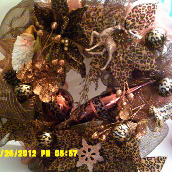 RESRVED FOR GAYLE  Leopard  Christmas Wreath  elegant and cozy. rich brown gold