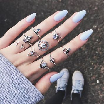 9pcs Bohemian Silver Stack Ring Set