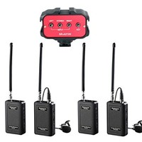 Dual Wireless VHF Lavalier Microphone Bundle with 2 Transmitters, 2 Receivers and Audio Mixer for DSLR Cameras