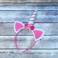 Unicorn Horn Headband with Glitter Ears and Flower Accents with Pink Stripe
