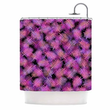 "Ebi Emporium ""TROPICAL PALMS, FUCHSIA BLACK"" Purple,Pink,Pattern,Floral,Mixed Media,Watercolor Shower Curtain"