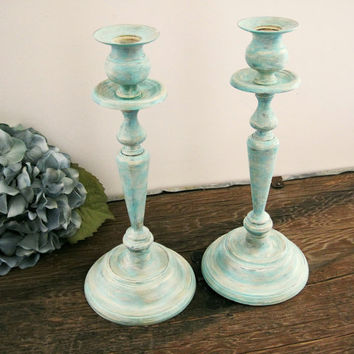 Mint Green Decor Candle Holders Shabby Chic Home Wedding