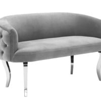 Adina Grey Velvet Loveseat with Silver Legs