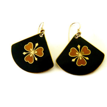 Laurel Burch Vintage  dangle earrings  enamel flower earrings