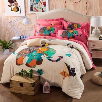 Home Textiles Elephant 100% thick cotton bedding set king Queen size, bed linen bed set sheet duvet cover pillowcase 4pcs