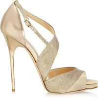 Jimmy Choo - Tyne metallic leather and textured-lamé sandals