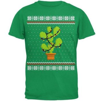 PEAPGQ9 Cactus Prickly Pear Tree Ugly Christmas Sweater Mens T Shirt