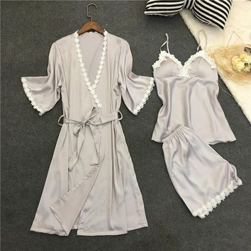 LISACMVPNEL Rayon Silk Women Pajamas Set 3PCS Sleepwear Sexy Women Robe Set Soft Nightwear