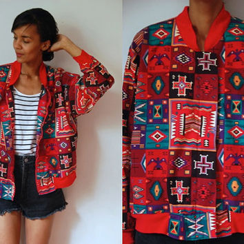 Vtg Bold Tribal Print Red Green Black Zip Up Cotton Jacket