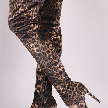 Leopard Cutout Stiletto Over-The-Knee Boots | UrbanOG