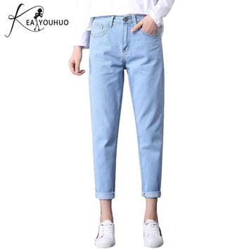 2018 Autumn Ladies High Waist Mom Female Boyfriend Jeans For Women Trousers Pencil Pants Denim Black Jeans Woman Plus Size 25-34
