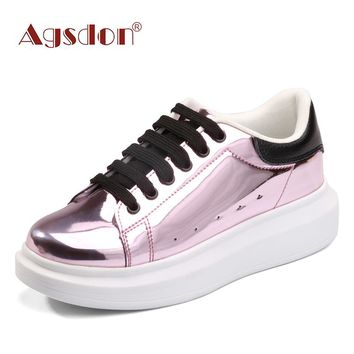 Agsdon 2017 Metallic Fashion Platform Casual Shoes Woman Lace-Up Oxfords Spring Flats Fashion Solid Glitter Shoes