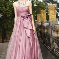 Wholesale Bead Bowknot Embellished Gown Pink